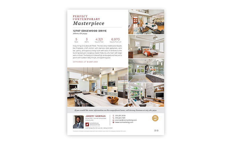 8.5″ x 11″ Single Page Property Brochure